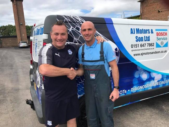 Tranmere boss Micky Mellon and co-owner at AJ Motors and Son Ltd Steve Jones